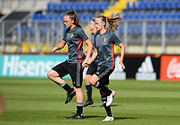 20170719 - BREDA , NETHERLANDS :  Belgian Tine De Caigny (left) and Julie Biesmans (r) pictured during Matchday -1 training session of the Belgian national women's soccer team Red Flames on the pitch of NAC BREDA , on wednesday 19 July 2017 in stadion Rat Verlegh in Breda . The Red Flames are at the Women's European Championship 2017 in the Netherlands. PHOTO SPORTPIX.BE | DAVID CATRY