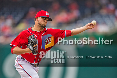 9 June 2013: Washington Nationals pitcher Xavier Cedeno on the mound against the Minnesota Twins at Nationals Park in Washington, DC. The Nationals shut out the Twins 7-0 in the first game of their day/night double-header. Mandatory Credit: Ed Wolfstein Photo *** RAW (NEF) Image File Available ***