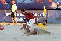 RAVENNA, ITALIA, 10 DE SETEMBRO 2011 - MUNDIAL BEACH SOCCER / BRASIL X PORTUGAL - Bruno jogador do Brasil, durante a partida contra jogador Jordan do Portugal , válida pela semi-final do Mundial de Futebol de Areiano Estádio Del Mare, em Ravenna, na Itália, neste sábado (10).FOTO: VANESSA CARVALHO - NEWS FREE