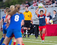 Boyds, MD - April 16, 2016: Washington Spirit defender Caprice Dydasco (3) on a throw in. The Washington Spirit defeated the Boston Breakers 1-0 during their National Women's Soccer League (NWSL) match at the Maryland SoccerPlex.