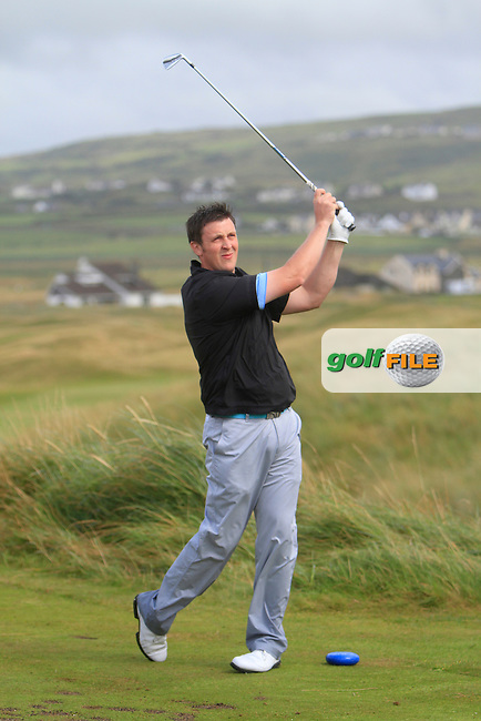Paul O'Hara (Kilkenny) on the 11th tee during the South of Ireland Amateur Open Championship Final at Lahinch Golf Club  31th July 2013 <br /> Picture:  Thos Caffrey / www.golffile.ie
