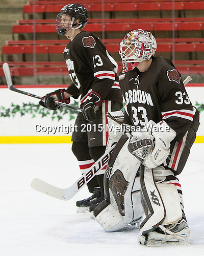 Ben Tegtmeyer (Brown - 13), Tim Ernst (Brown - 33) - The Harvard University Crimson defeated the Brown University Bears 4-3 to sweep their first round match up in the ECAC playoffs on Saturday, March 7, 2015, at Bright-Landry Hockey Center in Cambridge, Massachusetts.