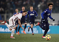 Football Soccer: Tim Cup semi-final second Leg, SS Lazio vs AC Milan, Stadio Olimpico, Rome, Italy, February 28, 2018.<br /> Lazio's Felipe Anderson (r) in action with Milan's Lucas Biglia (l) during the Tim Cup semi-final football match between SS Lazio vs AC Milan, at Rome's Olympic stadium, February 28, 2018.<br /> <br /> UPDATE IMAGES PRESS/Isabella Bonotto