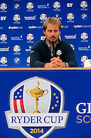 Victor Dubuisson Europe press conference during Tuesday's Practice Day ahead of the 2014 Ryder Cup at Gleneagles. The 40th Ryder Cup is being played over the PGA Centenary Course at The Gleneagles Hotel, Perthshire from 26th to 28th September 2014.: Picture Eoin Clarke, www.golffile.ie: 23-Sep-14