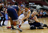 Ohio State Buckeyes forward Martina Ellerbe (23) fights for a loose ball with Florida Atlantic Owls guard Kimberly Smith (10) and Florida Atlantic Owls forward Chenise Miller (25) in the second half of the college basketball game between the Ohio State Buckeyes and the Florida Atlantic Owls at Value City Arena in Columbus,  Sunday afternoon, November 10, 2013. The Ohio State Buckeyes narrowly defeated the Florida Atlantic Owls 91 - 88. (The Columbus Dispatch / Eamon Queeney)