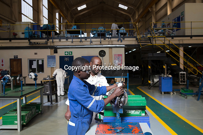 MUFULIRA, ZAMBIA- JULY 6: Students train at the training school run by Glencore, an Anglo-Swiss multinational commodity trading and mining company, at Mopani Mines on July 6, 2016. Glencore owns about 73 % of Mopani mines, which produces copper and some cobalt. The mine employs about 15,000 people. Many people in the area are dependent on the mines and its subcontractors for work. (Photo by Per-Anders Pettersson)