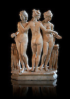 The Three Graces (  Les Trois Grâces ) A 1.19 metres high 2nd century Imperial Roman copy of a circa 330 BC Hellanistic Greek statue.  Found in the Villa Cornovaglia in Rome. Louvre Museum, Paris. Catalogue Number: Louvre Ma 287.<br /> The Three Graces are three nude females that in classic Hellanistic art they are depicted with two facing forward and the middle one facing away. The Three Graces, or Three Charities, of Greek mythology were Aglaia, Euphrosyne, and Thalia. They were the goddesses who symbolised joy, pleasure, grace, beauty, festivity, adornment, dance, and song. Daughters of Zeus and the sea-nymph Eurynome, they were also the attendants, or handmaidens, of Aphrodite and Hera and protectors of vegetation.