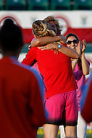 Rochester, NY - Saturday Aug. 27, 2016: Samantha Mewis hugs her mom prior to a regular season National Women's Soccer League (NWSL) match between the Western New York Flash and the Houston Dash at Rochester Rhinos Stadium.
