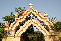 Moorish gateway at Xcaret park, Riviera Maya, Quintana Roo, Mexico