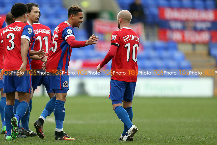 Corey Whitely of Dagenham is congratulated after scoring the opening goal during Tranmere Rovers vs Dagenham & Redbridge, Vanarama National League Football at Prenton Park on 28th January 2017
