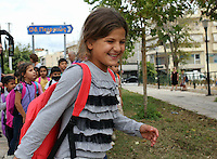 Pictured: A young migrant girl on her first day at the Tavros 2nd Primary school in Athens Greece. Monday 10 October 2016<br /> Re: Children of refugees have started school in various parts of Greece.