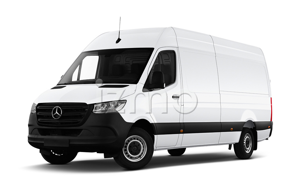 Stock pictures of low aggressive front three quarter view of a 2019 Mercedes Benz Sprinter Cargo Van Base 4 Door Cargo Van