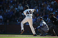 SAN FRANCISCO, CA - SEPTEMBER 28:  Jaylin Davis #49 of the San Francisco Giants bats against the Los Angeles Dodgers during the game at Oracle Park on Saturday, September 28, 2019 in San Francisco, California. (Photo by Brad Mangin)