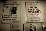 """Posters in the """"Casa della Memoria di Felicia e Peppino Impastato"""" in Cinisi. / Posters nella Casa della Memoria di Felicia e Peppino Impastato a Cinisi."""