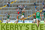 Donncadh Walsh Mid Kerry wins the kick out against St Brendans during their County Championship game in Fitzgerald Stadium on Sunday