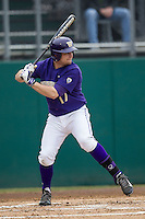 Washington Huskies outfielder Robert Pehl (17) at bat during the NCAA baseball game against the Michigan Wolverines on February 16, 2014 at Bobcat Ballpark in San Marcos, Texas. The game went eight innings, before travel curfew ended the contest in a 7-7 tie. (Andrew Woolley/Four Seam Images)