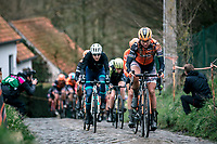 Chantal Blaak (NED/Boels Dolmans) leading the race up the Molenberg cobbles<br /> <br /> 12th Women's Omloop Het Nieuwsblad 2020 (BEL)<br /> Women's Elite Race <br /> Gent – Ninove: 123km<br /> <br /> ©kramon