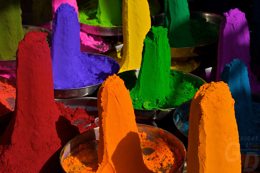 Color Powder in the Market of Pushkar, the locals buy the Color Powder to color their Cow, camels and other Animals during special occassions and festivals