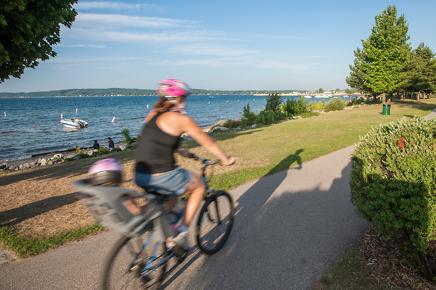 The Lake Michigan waterfront of Traverse City, Michigan in summer.