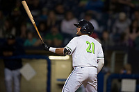 Hillsboro Hops designated hitter Joey Rose (21) at bat during a Northwest League game against the Salem-Keizer Volcanoes at Ron Tonkin Field on September 1, 2018 in Hillsboro, Oregon. The Salem-Keizer Volcanoes defeated the Hillsboro Hops by a score of 3-1. (Zachary Lucy/Four Seam Images)