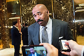 Media host Steve Harvey is seen speaking with the press in the lobby of Trump Tower in New York, NY, USA on January 13, 2017.  Credit: Albin Lohr-Jones / Pool via CNP