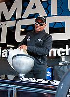 Feb 7, 2020; Pomona, CA, USA; NHRA top fuel driver Antron Brown during qualifying for the Winternationals at Auto Club Raceway at Pomona. Mandatory Credit: Mark J. Rebilas-USA TODAY Sports