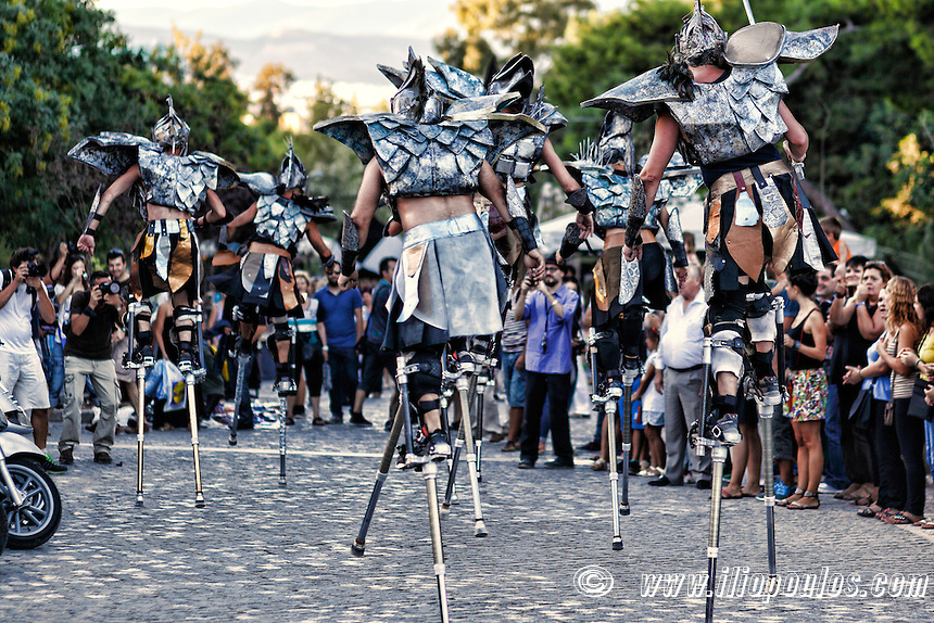Stilt walkers in the street of Athens, Greece