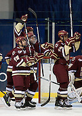 Cam Atkinson (BC - 13), Philip Samuelsson (BC - 5), Jimmy Hayes (BC - 10), Chris Kreider (BC - 19) - The Merrimack College Warriors defeated the Boston College Eagles 5-3 on Sunday, November 1, 2009, at Lawler Arena in North Andover, Massachusetts splitting the weekend series.