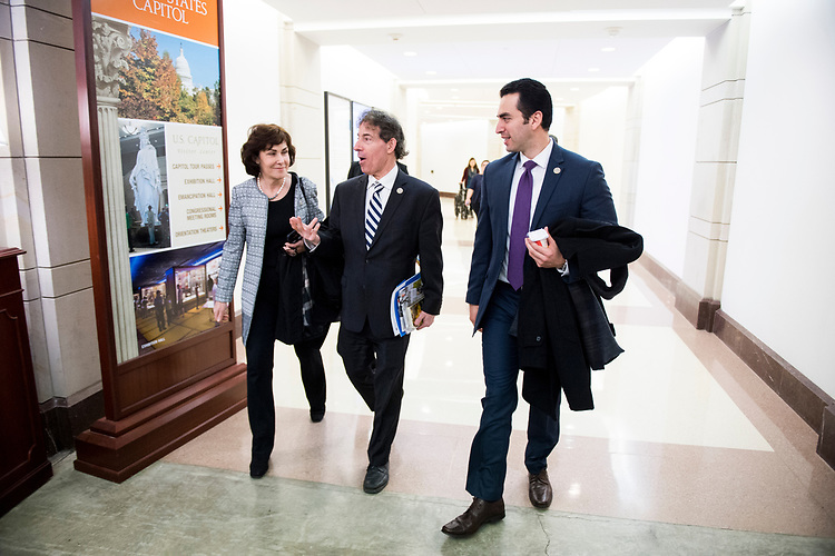 UNITED STATES - MARCH 24: Freshmen members from left, Rep. Jacky Rosen, D-Nev., Rep. Jamie Raskin, D-Md., and Rep. Ruben Kihuen, D-Nev., make their way from the House Democrats' caucus meeting to House floor for a procedural vote on a rule to allow a final on the American Health Care Act of 2017in the Capitol on Friday, March 24, 2017. (Photo By Bill Clark/CQ Roll Call)