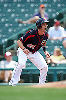 Rochester Red Wings catcher Eric Fryer (22) leads off first during a game against the Norfolk Tides on May 3, 2015 at Frontier Field in Rochester, New York.  Rochester defeated Norfolk 7-3.  (Mike Janes/Four Seam Images)