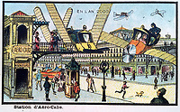 BNPS.co.uk (01202 558833)<br /> Pic:  Hansons/BNPS<br /> <br /> One of the drawings showing people travelling via flying cars.<br /> <br /> A remarkable set of drawings which were produced in 1899 to predict the future have come to light - and some of the ideas are plain wacky.<br /> <br /> Their outlandish vision of the world in 2000 includes flying cars, whales pulling coaches and games of croquet under the sea.<br /> <br /> The illustrations were produced by a group of French artists for a Paris exhibition entitled 'En L'An 2000'. (In the year 2000)<br /> <br /> They did not foresee a man on the moon or the first computer, but predicted people would be playing tennis with bat wings.
