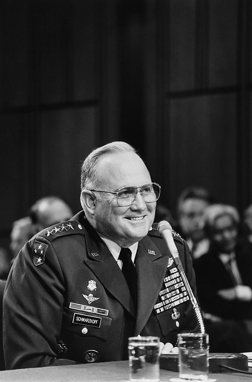General Norman Schwarzkopf testifying before Senate Armed Services Committee, in 1991. (Photo by Maureen Keating/CQ Roll Call via Getty Images)