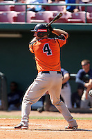 Netherlands National Team outfielder Bas Nooij #4 at bat during a spring training exhibition game against the Tampa Bay Rays at Al Lang Field on March 18, 2012 in St. Petersburg, Florida.  Tampa Bay defeated the Netherlands 4-3.  (Mike Janes/Four Seam Images)