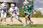 Los Angeles, CA 02/06/16 - John Corbolotti (Cal Poly #2) and Jack McKay (Loyola Marymount #7)in action during the Cal Poly SLO Mustangs vs Loyola Marymount Lions MCLA Men's Lacrosse game.  Cal Poly defeated LMU 24-5