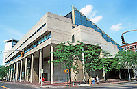 Cambridge:  George Gund Hall Graduate School of Design, Harvard.  John Andrews, Anderson, Baldwin of Toronto 1969-72.  Five levels above ground and two below. Five step-like terraces are covered by a single steel roof. .Photo '88.