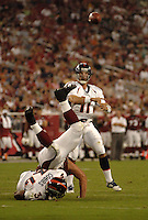Aug. 31, 2006; Glendale, AZ, USA; Denver Broncos quarterback (11) Bradlee Van Pelt throws a pass against the Arizona Cardinals at Cardinals Stadium in Glendale, AZ. Mandatory Credit: Mark J. Rebilas