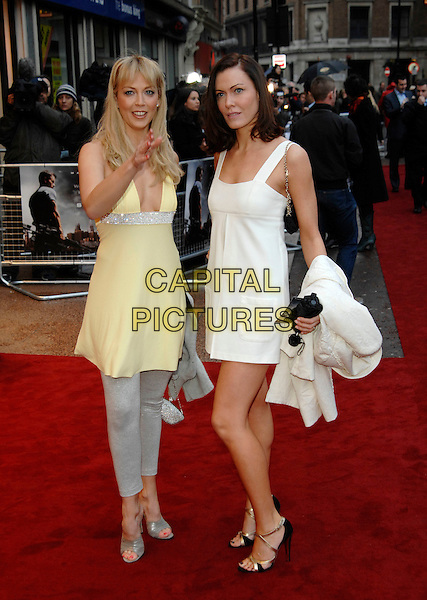 "LIZ FULLER & LINZI STOPPARD.Attending the UK Premiere of ""Shooter"", Odeon West End, London, England. .March 29th 2007.full length yellow top dress white grey gray leggings hand.CAP/PL.©Phil Loftus/Capital Pictures"