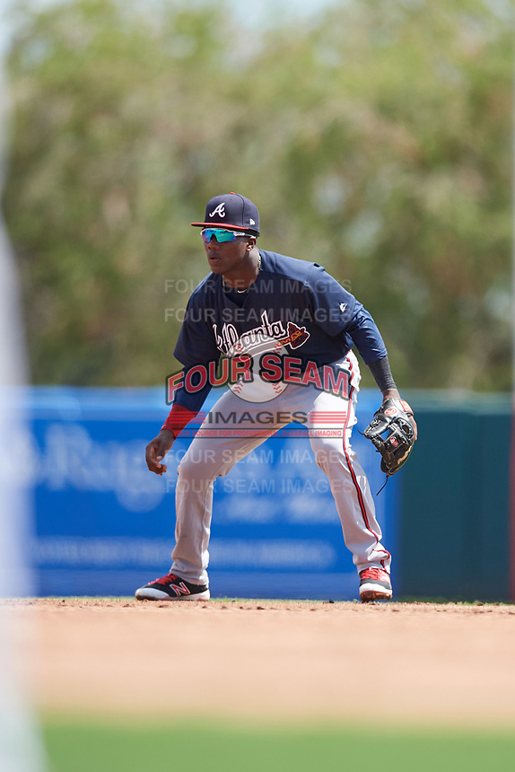 Atlanta Braves second baseman Yunior Severino (12) during an Instructional League game against the Baltimore Orioles on September 25, 2017 at Ed Smith Stadium in Sarasota, Florida.  (Mike Janes/Four Seam Images)