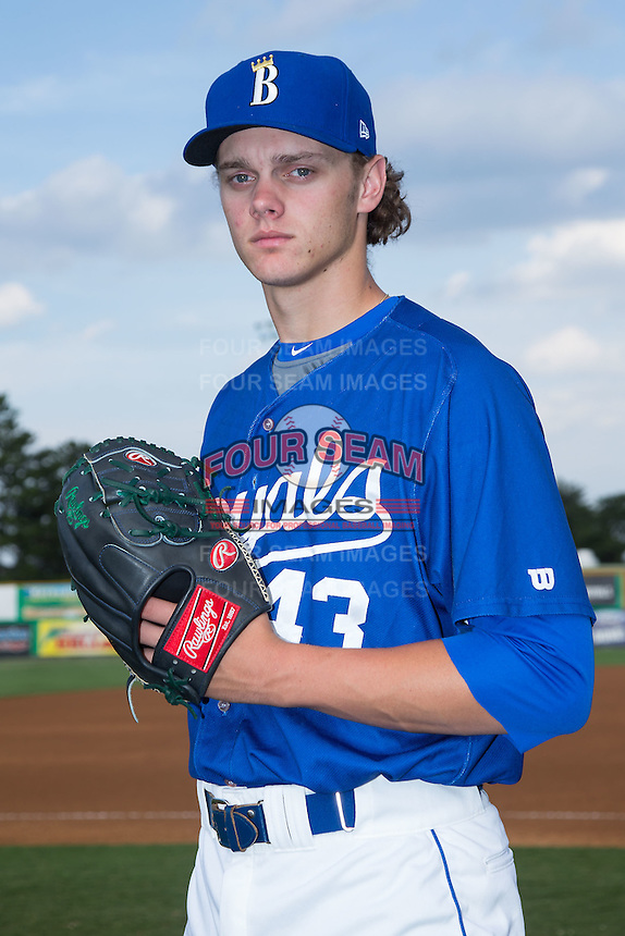 Ashe Russell (43) of the Burlington Royals poses for a photo prior to the game against the Danville Braves at Burlington Athletic Park on July 12, 2015 in Burlington, North Carolina.  The Royals defeated the Braves 9-3. (Brian Westerholt/Four Seam Images)