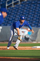 Dunedin Blue Jays first baseman Ryan McBroom (23) during a game against the Clearwater Threshers on April 8, 2016 at Bright House Field in Clearwater, Florida.  Dunedin defeated Clearwater 8-3.  (Mike Janes/Four Seam Images)