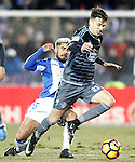 CD Leganes' Diego Rico (l) and Celta de Vigo's Josep Sene during La Liga match. January 28,2017. (ALTERPHOTOS/Acero)