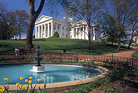 Richmond, Virginia, State Capitol, VA, State House, Fountain on Capitol Square at The Virginia State Capitol in the spring in the capital city of Richmond.