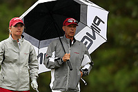 CHAPEL HILL, NC - OCTOBER 13: Head coach Mic Potter and Angelica Moresco of the University of Alabama at UNC Finley Golf Course on October 13, 2019 in Chapel Hill, North Carolina.