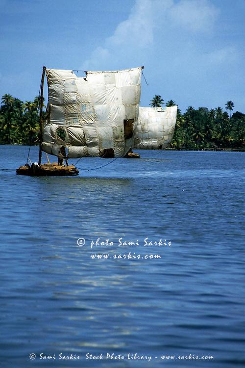 Traditional boats on the coast of Kerala, India.