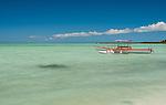 A traditional boat on the lagoon in Kiritimati, Kiribati
