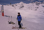 Beth at Top of Galzigbahn, start of Valluga,St Anton Ski Area, Austria