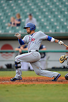 Round Rock Express third baseman Robinson Chirinos at bat during a game against the New Orleans Zephyrs on April 15, 2013 at Zephyr Field in New Orleans, Louisiana.  New Orleans defeated Round Rock 3-2.  (Mike Janes/Four Seam Images)