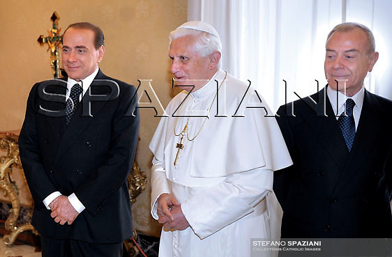 Pope Benedict XVI and  Italy's Prime Minister Silvio Berlusconi Gianni Letta meet during a private audience at the Vatican, Monday, June. 8, 2008..