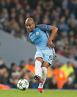 Fernando of Manchester City plays a pass during the UEFA Champions League GROUP match between Manchester City and Celtic at the Etihad Stadium, Manchester, England on 6 December 2016. Photo by Andy Rowland.