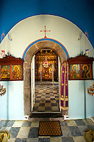 Interior of the Greek Orthodox Monastery of the Profitis Ilias, Hydra,  Greek Saronic Islands.